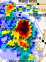 Close up of Very Severe Thunderstorm from Newcastle Radar, 25 February 06.
